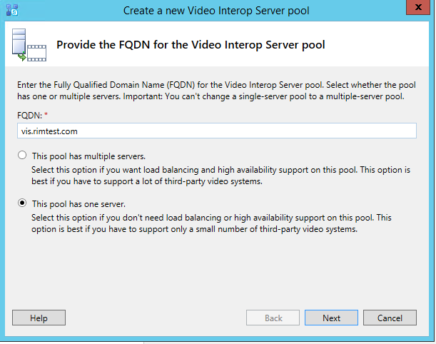 Create a new Video Interop Server pool