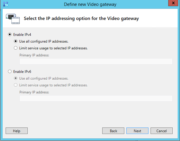 Define new Video gateway