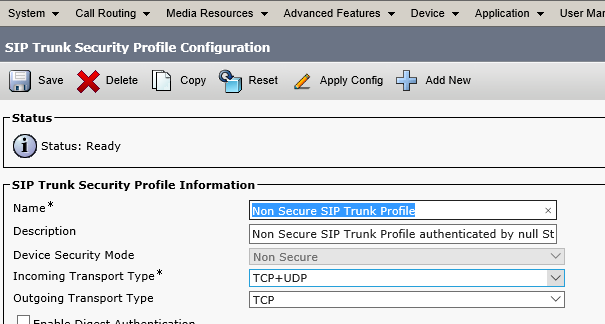 SIP Trunk Security Profile Configuration