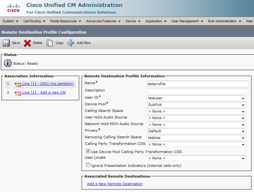 Configuring CUCM Single Number Reach feature
